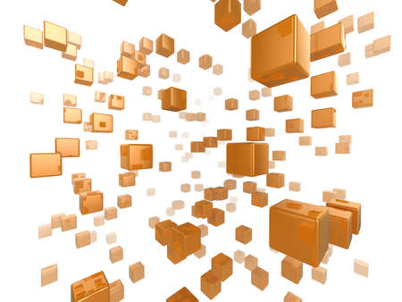 High quality illustration of a network of glossy orange cubes reaching far into the distance Stock Illustration - 6055208
