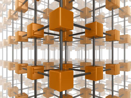 High quality illustration of a network of glossy orange cubes, connected by a wire frame