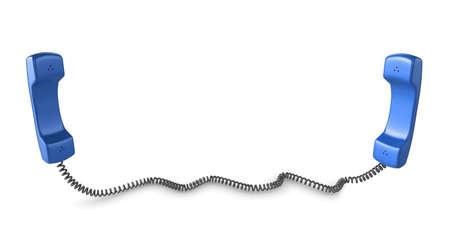 Shiny blue phone illustration with black cord, isolated on a white background. Stock Illustration - 6055198