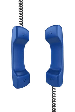 Shiny blue phone illustration with black cord, isolated on a white background. illustration