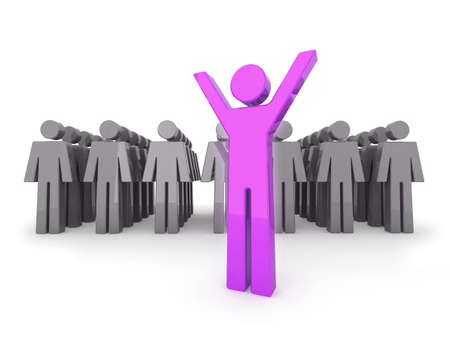 standing out: Standing out from the crowd. 3D illustration. Stock Photo