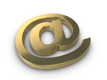 3d gold email at symbol isolated on a white background with subtle shadow photo