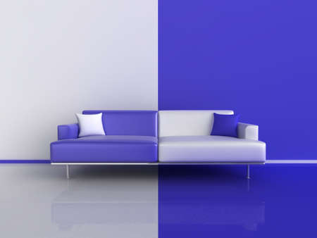contrasting: 3d illustration of a contrasting sofa in blue and white Stock Photo