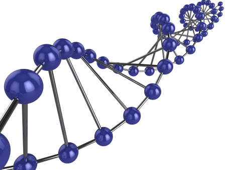 the strand: 3d representation of DNA on a white background