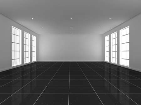 gallery wall: 3d illustration of a large, bright, empty room with windows either side.