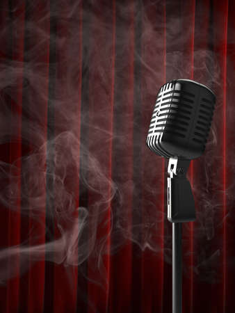 High quality illustration of a retro microphone in a smokey club-like atmosphere.