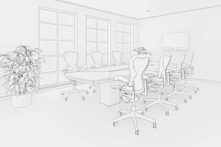 Illustration of an office or boardroom interior in a blueprint style illustration