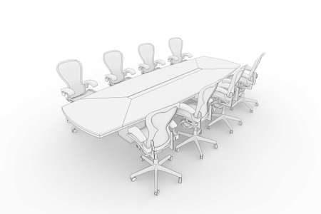 boardroom meeting: Illustration fo a boardroom, or meeting table in a blueprintsketch style Stock Photo