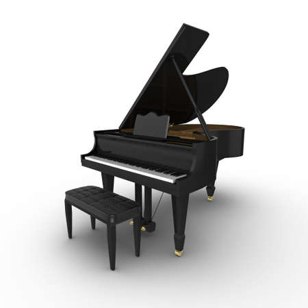 Black grand piano, isolated on a white background Standard-Bild