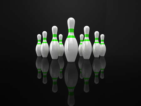 High quality 3d illustration of 10 bowling pins on a glossy black surface. illustration