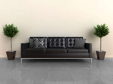 Illustration of a designer sofa, with plants either side, on a shiny stone floor.