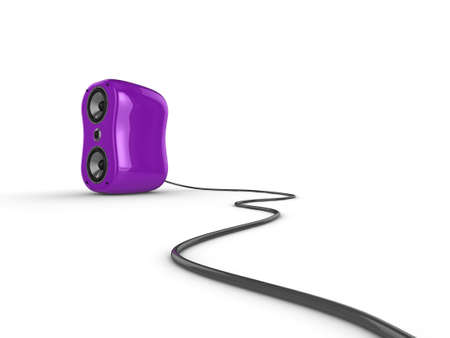 Illustration of a purple glossy speaker with wire, isolated on a white background. illustration