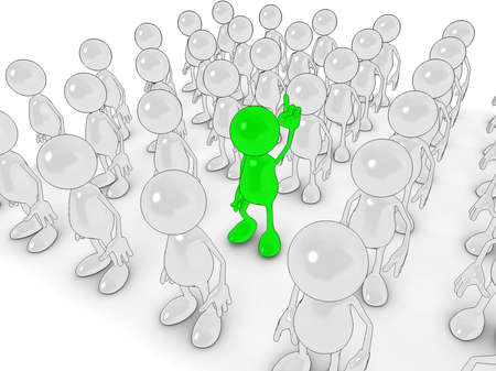 3d cartoon character Standing out from the crowd. photo