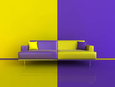 3d image of an unusual contasting sofa/wall/floor, in Purple and Yellow Stock Photo - 6220262