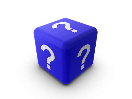 3d illustration of a blue cube or dice, with a question mark symbol on each side. Stock Illustration - 6220272