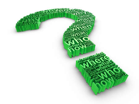 whose: Green 3d question mark made up of words on a white background