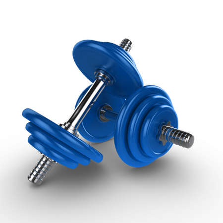 dumbell: Dumbell weights, isolated on a white background with subtle shadow