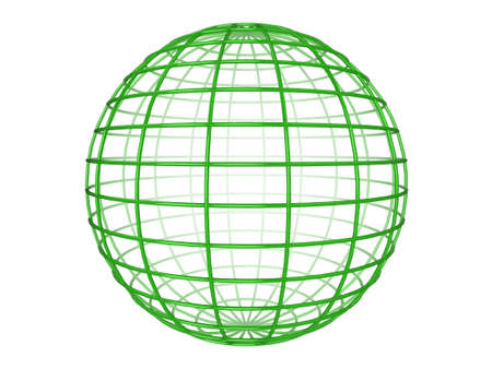 Illustration of a green 3d wireframe sphere, on a white background Stock Illustration - 6220267