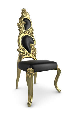 Intricately carved antique chair, isolated on a white background with subtle shadow photo