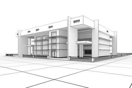 3d Modern house design in a blueprint style photo