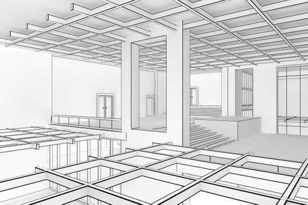 Illustration of a modern interior in a blueprint style Standard-Bild