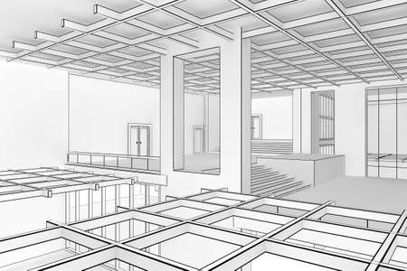 Illustration of a modern interior in a blueprint style Stock Photo