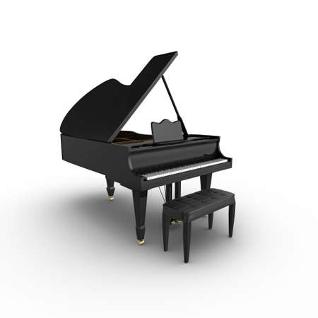 3d grand piano and stool, isolated on a white background photo