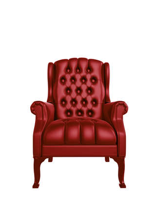 Classic glossy red chair, isolated on a white background Standard-Bild