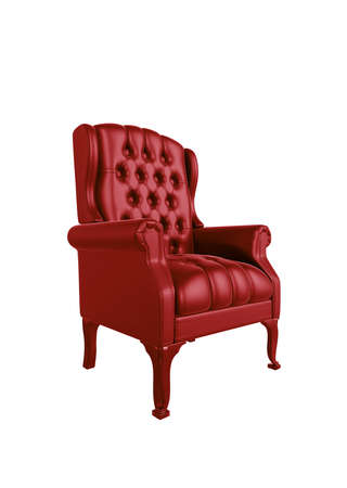 old leather: Classic glossy red chair, isolated on a white background Stock Photo