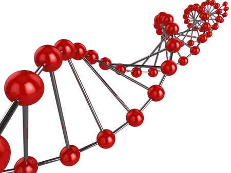 3d representation of DNA on a white background