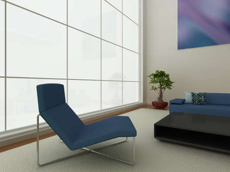 Illustration of a modern living area with large window, and stylish furniture. Stock Illustration - 6261536