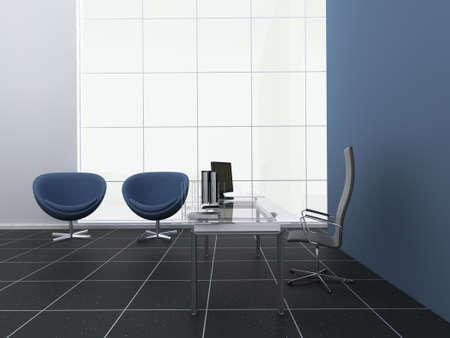 Modern blue office or reception area