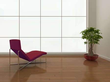 High quality illustration of a minimal interior with large blank window.