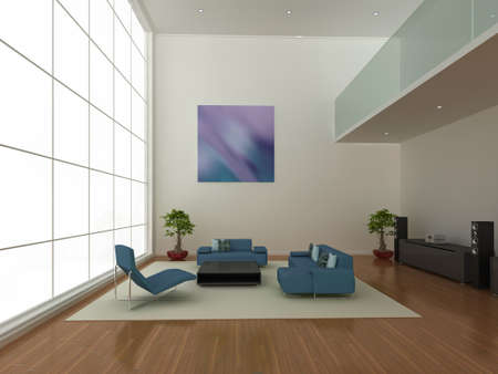 High quality 3d illustration of a large, modern living area. Stock Illustration - 6261503