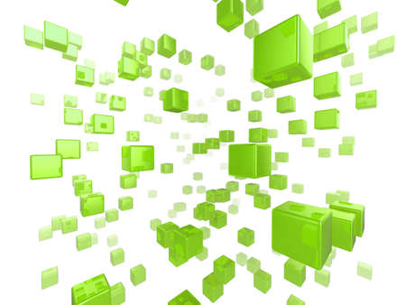 High quality illustration of a network of glossy green cubes reaching far into the distance Stock Illustration - 6261470