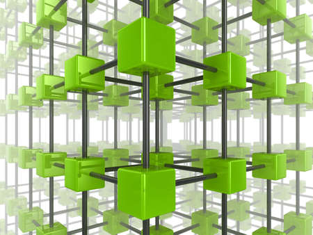 High quality illustration of a network of glossy green cubes, connected by a wire frame Stock Illustration - 6261488