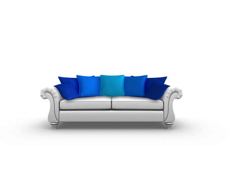 Illustration of a sofa with blue cushions