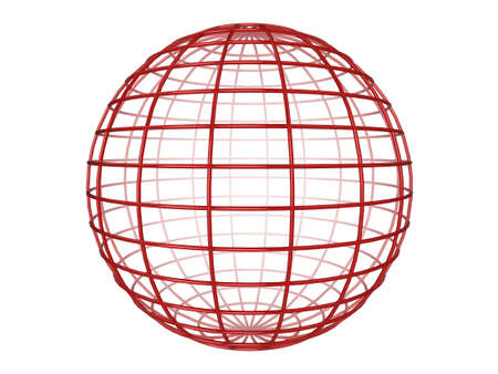 Illustration of a red 3d wireframe sphere, on a white background illustration