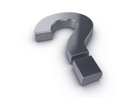 3d silver question mark, on a white background with subtle shadow Stock Photo