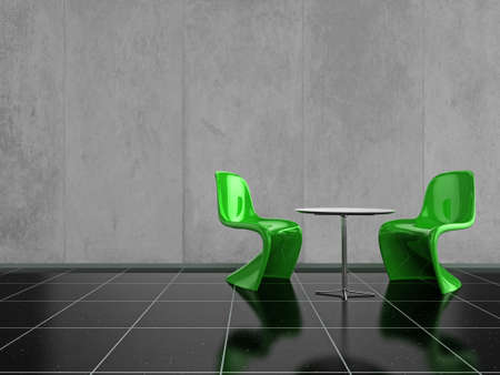 Modern green chairs on a shiny black stone floor