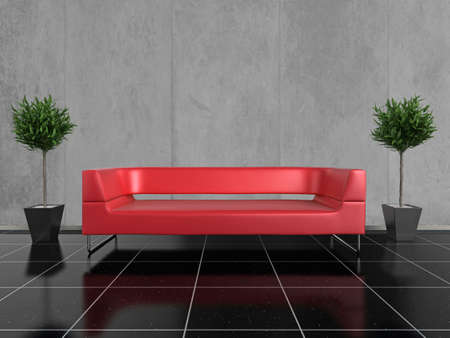 Modern red sofa on a glossy black stone floor, with a plant either side
