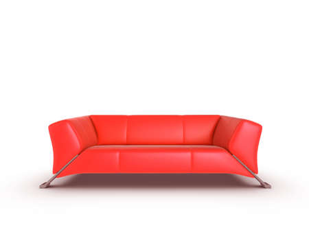 Red 3d sofa, isolated on a white background Stock Photo - 6298780