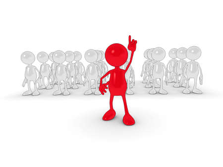 contributor: 3d cartoon character Standing out from the crowd. Stock Photo