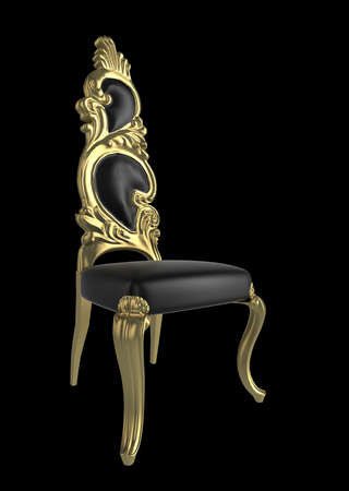 Intricately carved antique chair, on a black background with subtle shadow photo