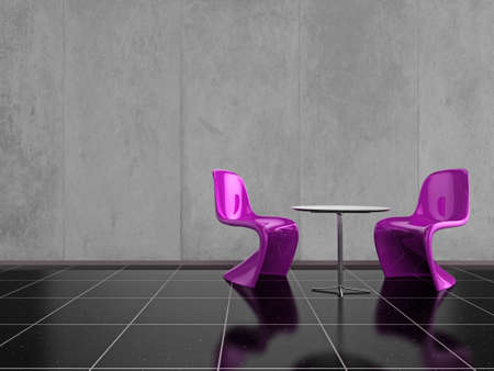 comfort room: Modern pink chairs on a shiny black stone floor