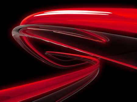 optics: 3d illustration of glowing red, and clear tubes twisting into the distance.