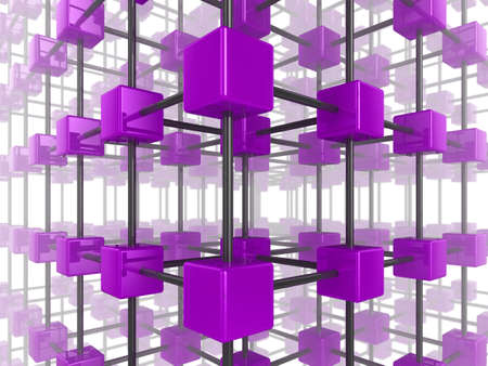 High quality illustration of a network of glossy purple cubes, connected by a wire frame Stock Illustration - 6588113
