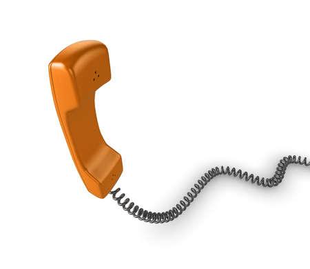 cable telefono: Ilustraci�n de tel�fono naranja brillante con cord�n negro, aislado en un fondo blanco.