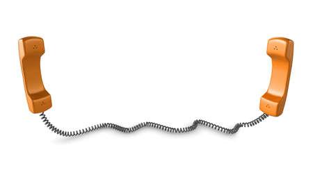 phone cord: Shiny orange phone illustration with black cord, isolated on a white background. Stock Photo