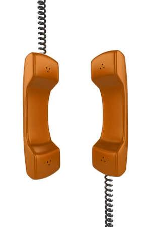Shiny orange phone illustration with black cord, isolated on a white background. illustration